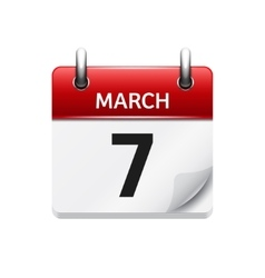 March 7 flat daily calendar icon Date and vector image