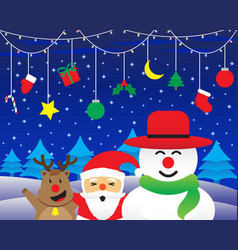 merry christmas - happy three friends and vector image