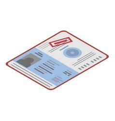migrant passport icon isometric style vector image