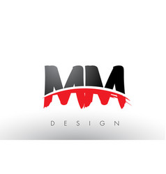 Mm m m brush logo letters with red and black vector