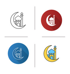 Mosque with ramadan moon icon vector