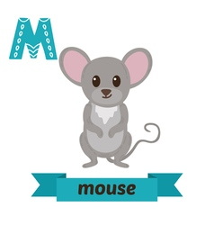 Mouse M letter Cute children animal alphabet in vector image