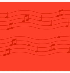 Music notes on red background vector