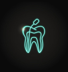 Neon root canal treatment icon in line style vector
