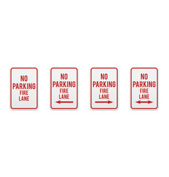 no parking fire lane road and street signs vector image