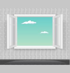 open glass window frame cartoon home interior vector image