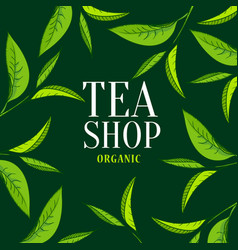 organic tea frame emblem vector image vector image