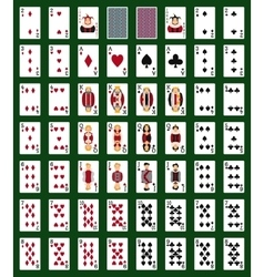 Poker set with isolated cards on green background vector image
