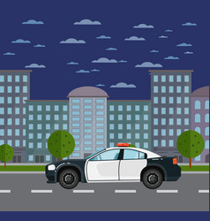 police car on road in urban landscape vector image vector image