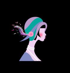 Portrait flapper girl with hat art deco retro vector