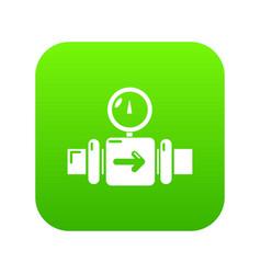 Pressure sensor icon green vector