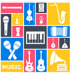 retro flat music instruments icons pictograms vector image