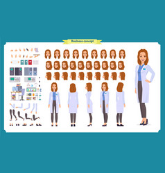 Scientist character creation set woman worker vector