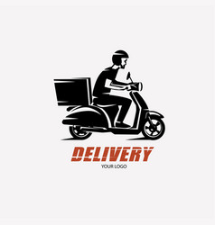 Scooter delivery silhouette logo template vector