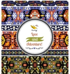 Seamless bright pattern in tribal style vector image