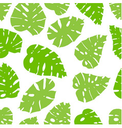 seamless monstera pattern with fresh green leaves vector image