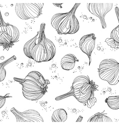 Seamless pattern - garlic and peppercorns vector image