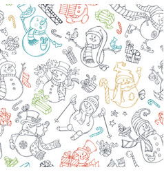 seamless pattern of cute doodles snowmen vector image
