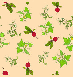 seamless pattern of hand drawn fresh vegetables vector image