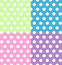 Seamless white polka dots pattern over colorful vector image