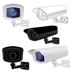 security camera set cctv surveillance system vector image