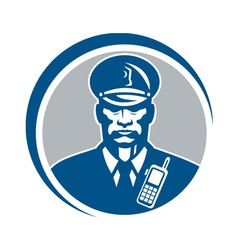 Security Guard Police Officer Radio Circle vector