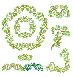 set floral seamless detailed ornaments borders vector image