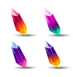 set of cartoon different color crystals mineral vector image