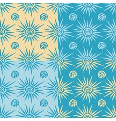 Set of seamless patterns with sun and spiral vector