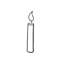 Sketch a burning candle vector