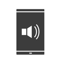 smartphone sound control glyph icon vector image