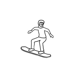 snowboarder hand drawn outline doodle icon vector image