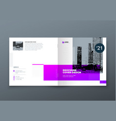 square brochure design purple corporate business vector image