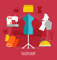 tailor shop concept vector image vector image