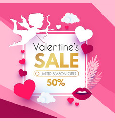 Valentine s day sale cute design template vector
