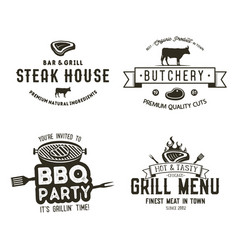 Vintage hand drawn steak house logo set bbq party vector