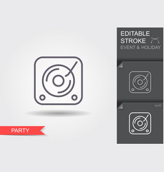 Vinyl player line icon with editable stroke with vector