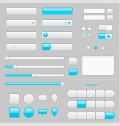 white web interface buttons slider and icons vector image