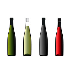 wine bottle set in red green white color vector image