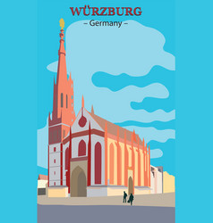 wurzburg church in germany vector image