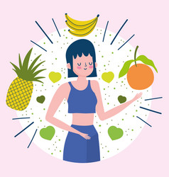 young woman with tropical fruits nutrition healthy vector image