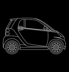 linear mini car isolated minicar on dark vector image