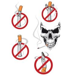 No smoking sign and skull vector image