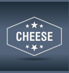 cheese hexagonal white vintage retro style label vector image vector image