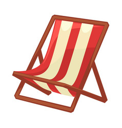 Folding chaise lounge with striped cloth and wood vector
