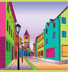 funky journey pedestrian street in european city vector image