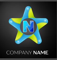 letter n logo symbol in the colorful star on black vector image