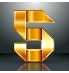 Number metal gold ribbon - 5 - five vector