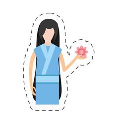 portrait character japanese woman attire costume vector image