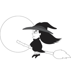 Witch riding a broom vector image